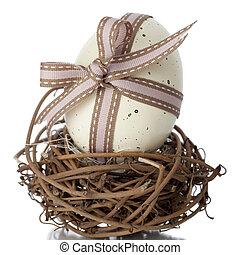 Easter Egg tied in a bow - EasterEgg tied in a bow with...