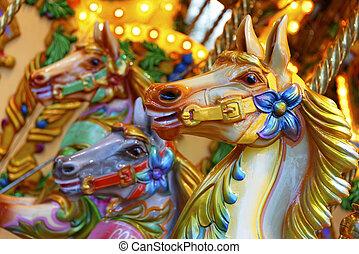 Merry-go-round horses - Vintage merry-go-round wooden horses