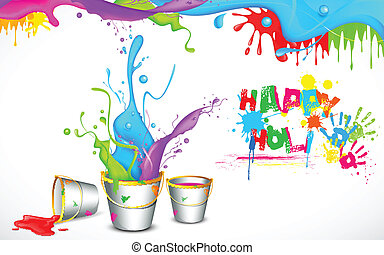 Holi Background with Bucket of color - illustration of...