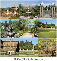 collage with images Italian garden - collage with images of...