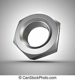 Metal nut closeup, 3d metalware component