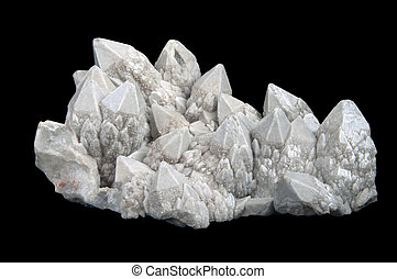 Druze of quartz crystals with quarts crystals laid on black...