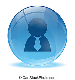 3D glass sphere and business man ic