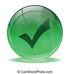 3D glass sphere and green okay icon