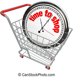 Time to Shop Clock in Shopping Cart Buying Browsing - The...