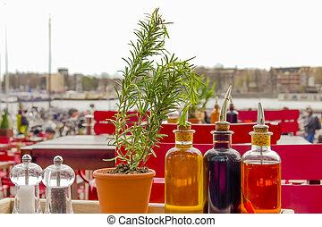 balsamic, Vinagre, botellas, Condimentos, tabla, abierto