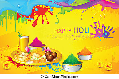 Holi wallpaper - illustration of happy Holi wallpaper with...
