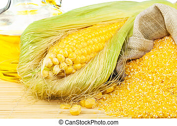 Composition from corn, maize flour and corn oil on the mat...