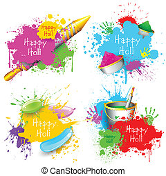 Holi Background - illustration of set of Holi splash with...