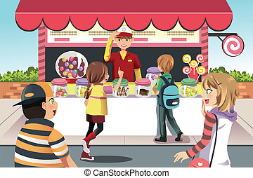 Kids buying candy - A vector illustration of kids buying...