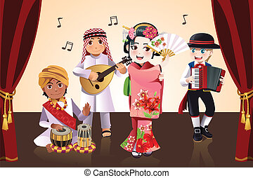 Multi-ethnic kids performing - A vector illustration of kids...