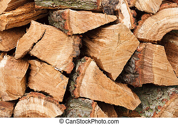 Firewood - Closeup of woodpile with chopped oak firewood