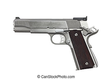 45 Caliber Handgun - Forty five calaber handgun isolated on...