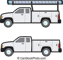 Work Truck - A plain white generic work truck typically used...