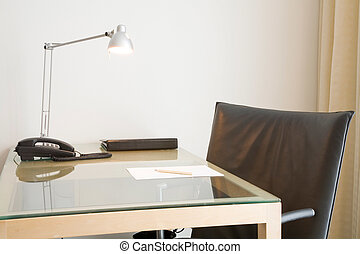 Office desk and chair - Desk with lamp and black leather...