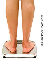Weighing Scales Isolated - Woman stands on weighing scales...