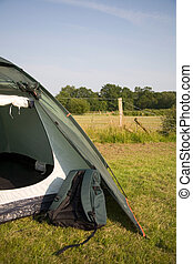 Rucksack and tent - A rucksack and tent pitched in the New...