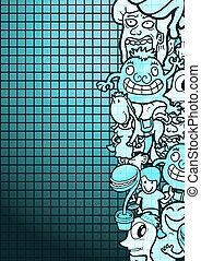 Cyan puppet comic - Creative design of cyan puppet comic