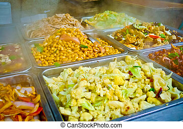 Chinese food buffet - Buffet trays of chinese food in...