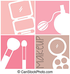 makeup vector - makeup icons over squares background. vector...