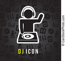 dj icons over black background. vector illustration