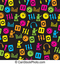 dj icons over black background vector illustration