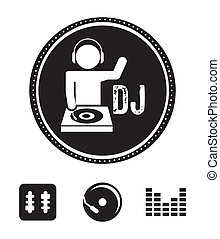 dj icons over white background vector illustration