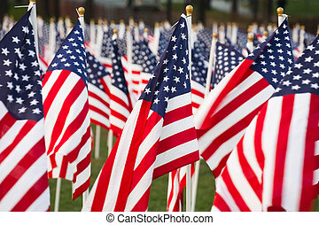 Stars and stripes - Closeup of stars and stripes flags in a...