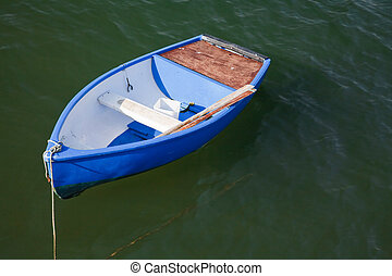 Rowing boat - Empty rowing boat painted a bright blue