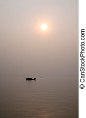 Sunset on the Ganges river - A stunning sunset looking over...
