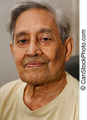 Indian man gray hair - Head only portrait of an Indian...
