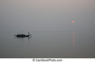 Sunset on the Ganges - A stunning sunset looking over the...