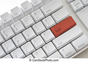 Help Computer Key - Red computer key with the word help on...