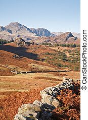 English landscape - View of the Langdale Pikes from Langdale...