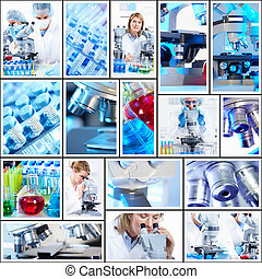 Scientific background collage Medical research