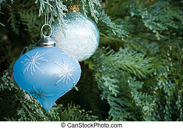 Christmas tree - Christmas decorations hanging in an...