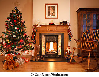 Christmas living room - Living room with open fire,...
