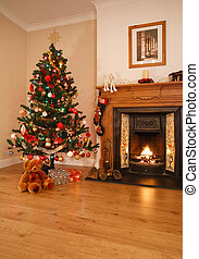 Christmas home decor - Living room with open fire, christmas...