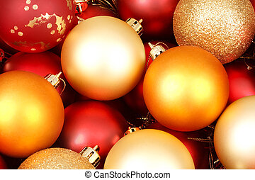 Christmas ornaments - Colorful christmas ornaments in red...