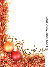 Christmas border with red and gold Christmas decorations,...