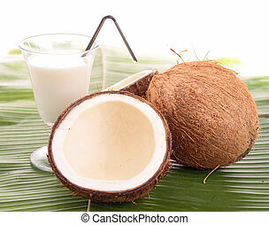coconut with glass of milk