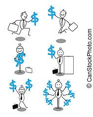 happy businessman & dollar