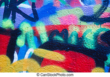 Graffiti - Closeup of a wall with colorful graffiti artwork