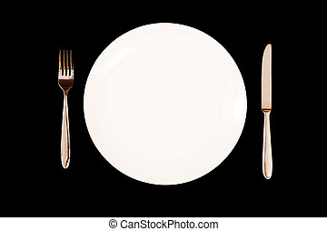 Dinner service - Place setting with white plate, knife and...