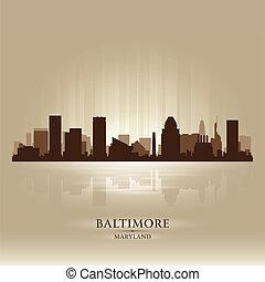 Baltimora, Maryland, orizzonte, città, silhouette