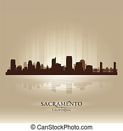 Sacramento California skyline city silhouette