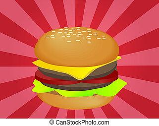 Hamburger illustration, layered burger with cheese...