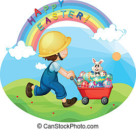 A boy with a helmet pushing the eggs and the bunny -...