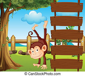 An ape beside the empty wooden signboards - Illustration of...