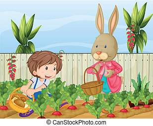 The gardener and the bunny - Illustration of the gardener...
